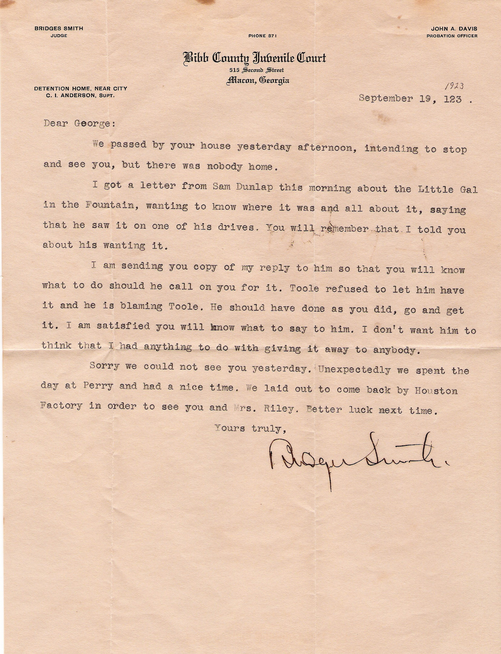 Lady of the fountain abducted from macon to kathleen ga circa 1918 letter from former mayor now judge bridges smith spiritdancerdesigns Choice Image